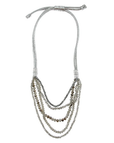 CRYSTAL & METALLIC LEATHER STATEMENT PULL TIE NECKLACE- GREY