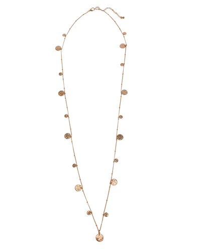 HAMMERED METAL DISCS LONG NECKLACE - ROSE GOLD