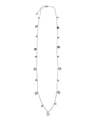 HAMMERED METAL DISCS LONG NECKLACE - SILVER