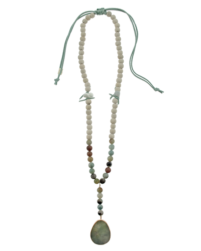 AMAZONITE STONE & LEATHER PULL TIE NECKLACE