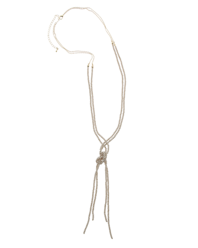 KNOTTED CRYSTAL NECKLACE - TAUPE