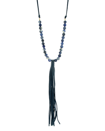 GENUINE LEATHER- LAPIS- TASSELS NECKLACE - LAPIS