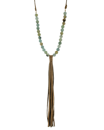 GENUINE LEATHER AMAZONITE TASSELS NECKLACE