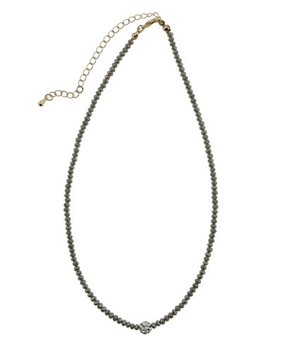 "16"" CRYSTAL & PAVE BALL NECKLACE - GREY"