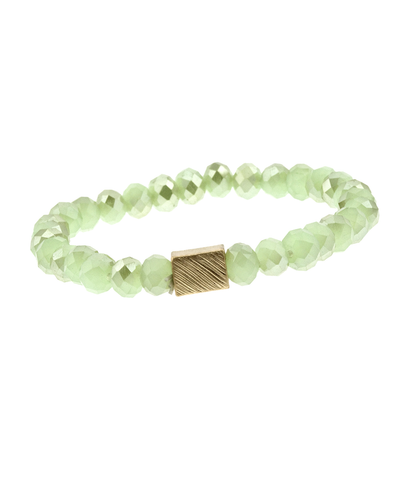 CRYSTAL BEADED & METAL SQUARE STRETCH BRACELET - MINT