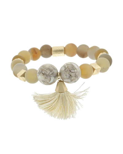 NATURAL STONE & TASSEL STRETCH BRACELET