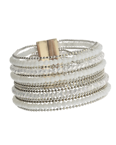 MULTI ROW MAGNETIC CRYSTAL BRACELET - WHITE