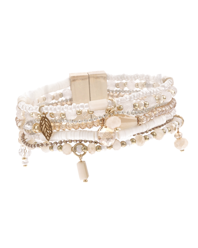 MULTI ROW MAGNETIC BRACELET MIXED MEDIA - IVORY