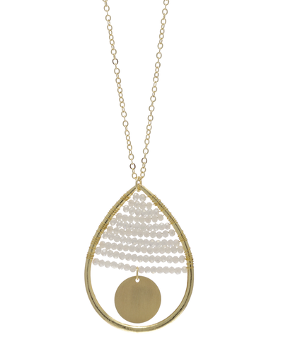 MINI CRYSTAL BEADED TEARDROP NECKLACE - WHITE