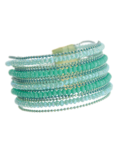 MULTI ROW MAGNETIC CRYSTAL BRACELET - MINT