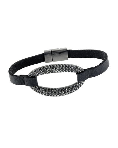 PAVE OVAL & LEATHER- MAGNETIC BRACELET - HEMATITE