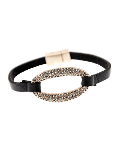 PAVE OVAL & LEATHER- MAGNETIC BRACELET - ROSE GOLD
