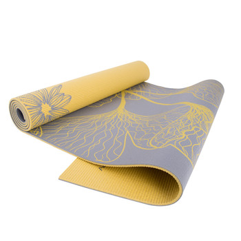 CAP YOGA Eco-friendly High Resistance Dahlia Ginkgo Reversible Double Side Printed 5mm Yoga Mat, Exercise & Fitness Mat With Carry Sling