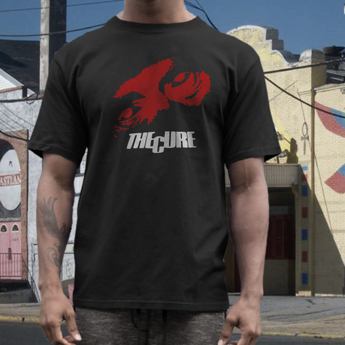 the Cure  short sleeve  t shirt on black tee