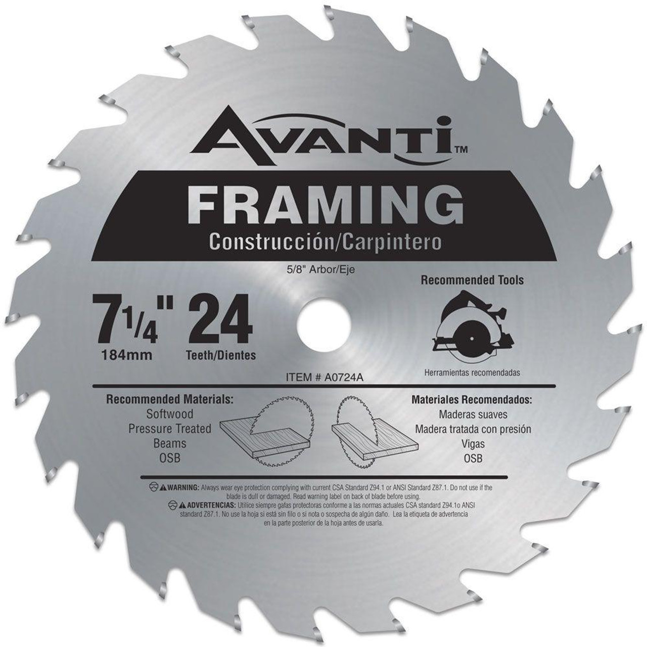 Freud Diablo A0724A 7-1/4 in. x 24-Tooth Framing Saw Blade