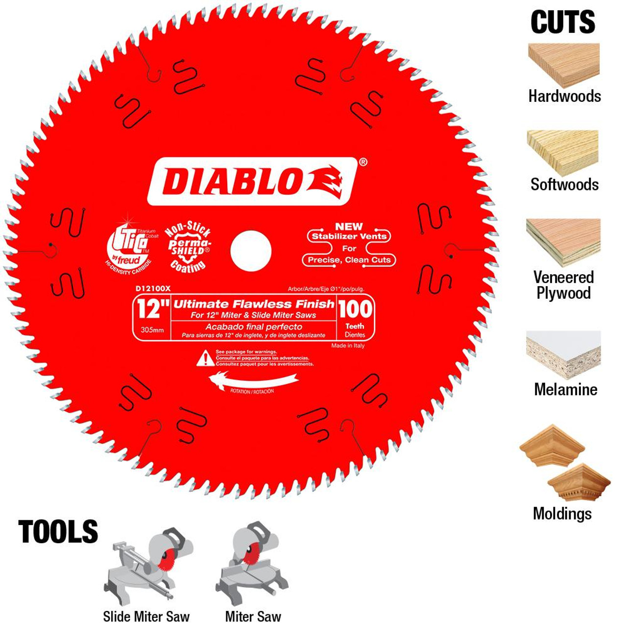 Freud Diablo D12100X 12 in. x 100-Tooth Ultimate Flawless Finish Saw Blade