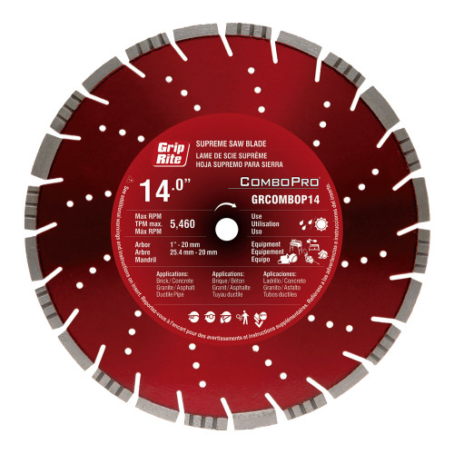 "Grip-Rite GRCOMBOPRO14 14"" Diamond Saw Blade"