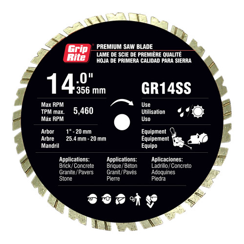 "Grip-Rite GR14SS 14"" Diamond Saw Blade"