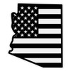 Black American Flag on Arizona Outline Reflective Decal