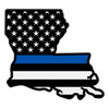 Subdued American Flag with Blue Line on Louisiana Outline Reflective Decal