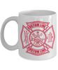 Custom Fire Department Red Maltese Cross 11 oz. White Coffee Mug