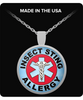Insect Sting Allergy Medical Charm Necklace