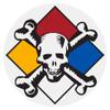 Round Hazardous Materials Skull Decal