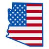 US Flag on Arizona Outline Reflective Decal