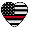 Black American Flag with Red Line Heart Decal
