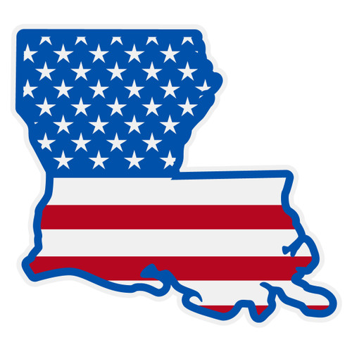American Flag on Louisiana Outline Reflective Decal