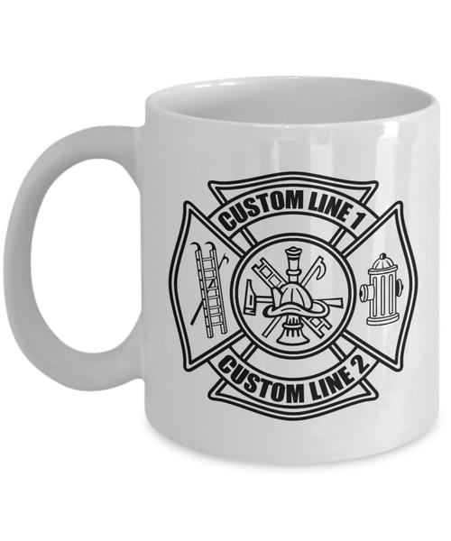 Custom Fire Department Black Maltese Cross 11 oz. White Coffee Mug