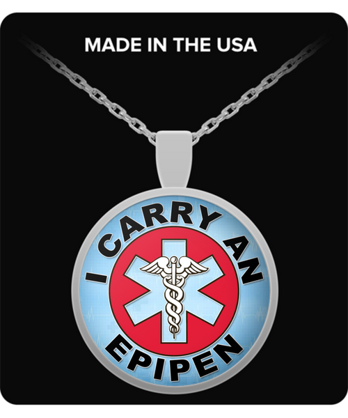 I Carry An EpiPen Medical Charm Necklace