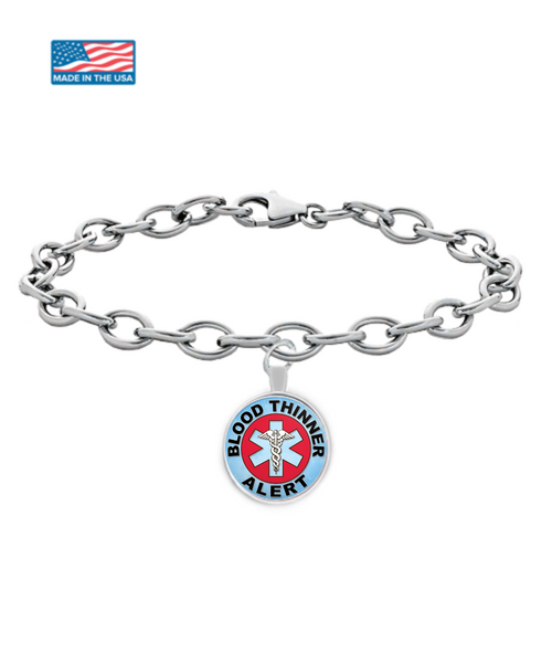 Blood Thinner Alert Medical Charm Bracelet