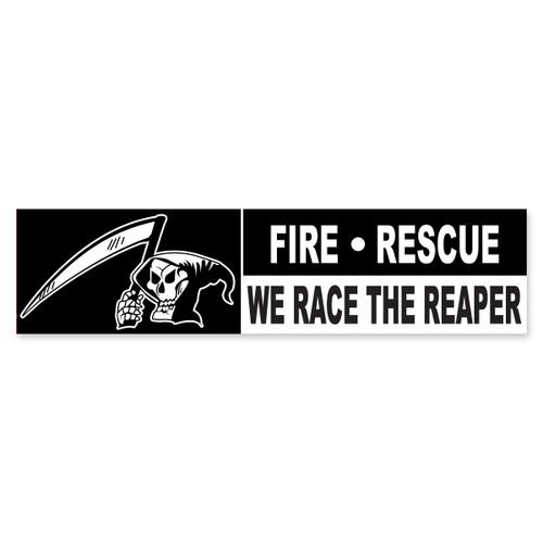 Fire Rescue We Race The Reaper Bumper Sticker