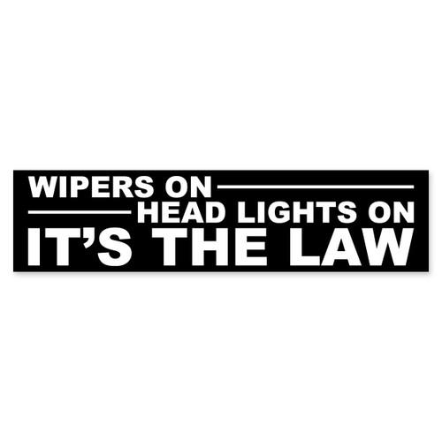 Wipers On Head Lights On Bumper Sticker