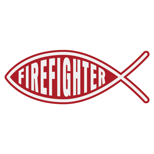 Firefighter Christian Fish Decal