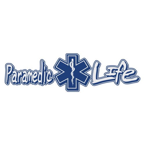 Paramedic Life with Star of Life Reflective Window Banner Decal