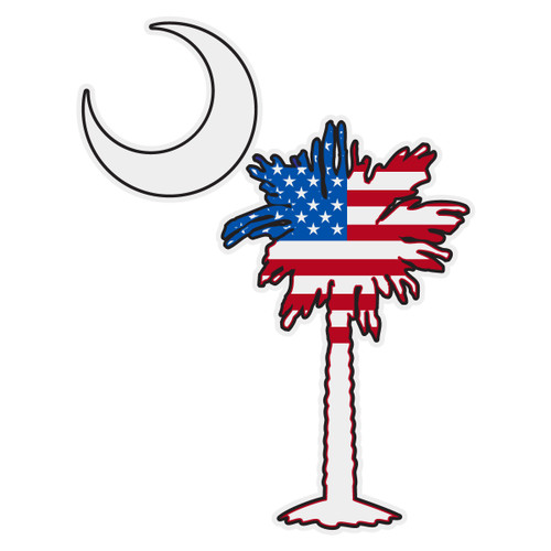United States Flag on South Carolina Tree & Moon