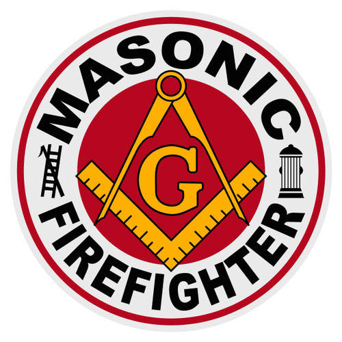 Round Masonic Firefighter Decal