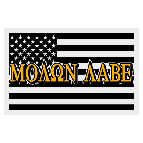 Black Subdued Reflective American Flag Molan Labe Decal