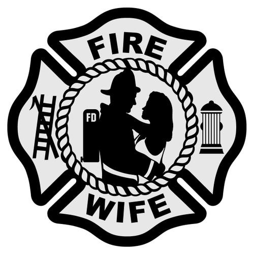 Fire Wife Silhouette Maltese Cross Decal