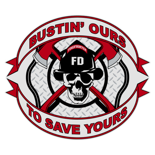 Bustin' Ours To Save Yours Skull Maltese Cross
