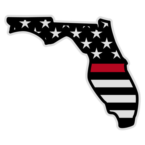 Black American Flag with Red Line on Florida Outline Decal