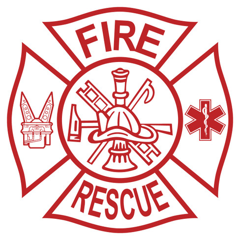 Fire Rescue Tools On Maltese Cross Decal The Emergency