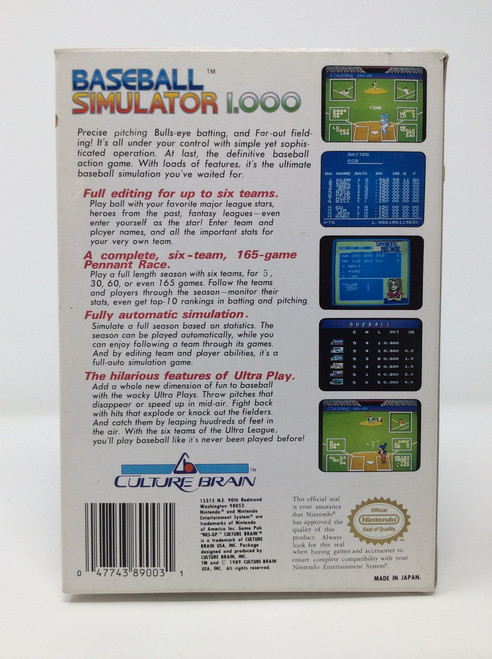 Baseball Simulator 1.000 -COMPLETE IN BOX- (NES)