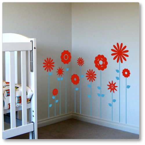 Field of Flowers wall decal (medium)