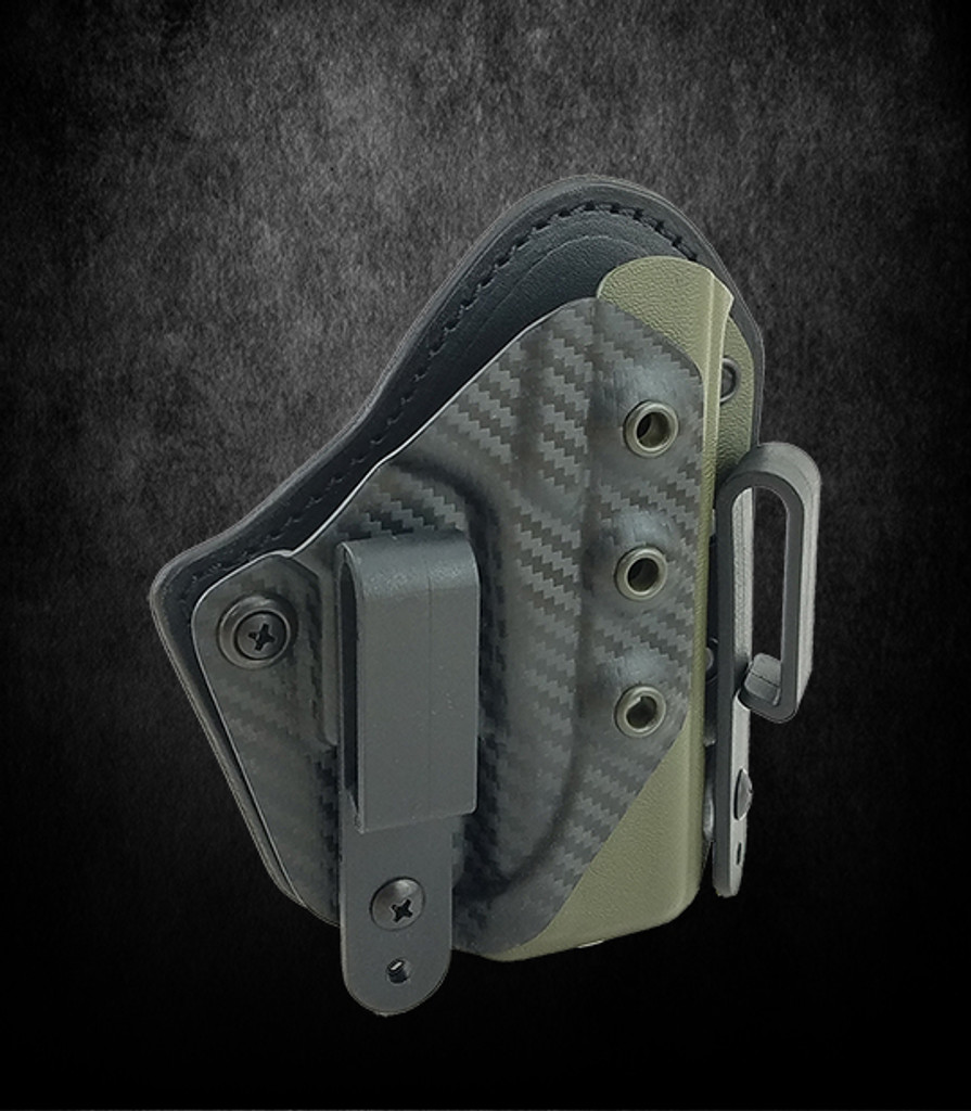 IWB Comp Cut Holster in OD Green & Carbon Fiber  - Carry with Confidence