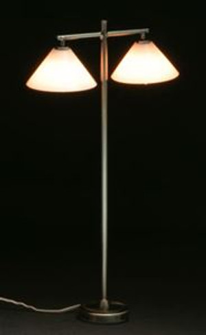 Modern Double Down Shade Floor Lamp - pewter
