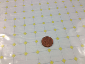 White with Yellow Diamond Pattern Vinyl Flooring