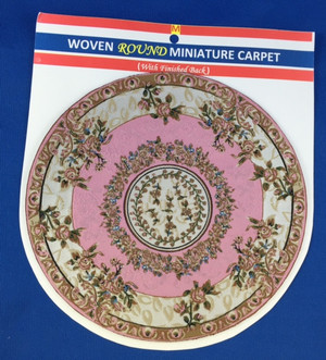 Woven Round Miniature Carpet - Cream & Pink Background